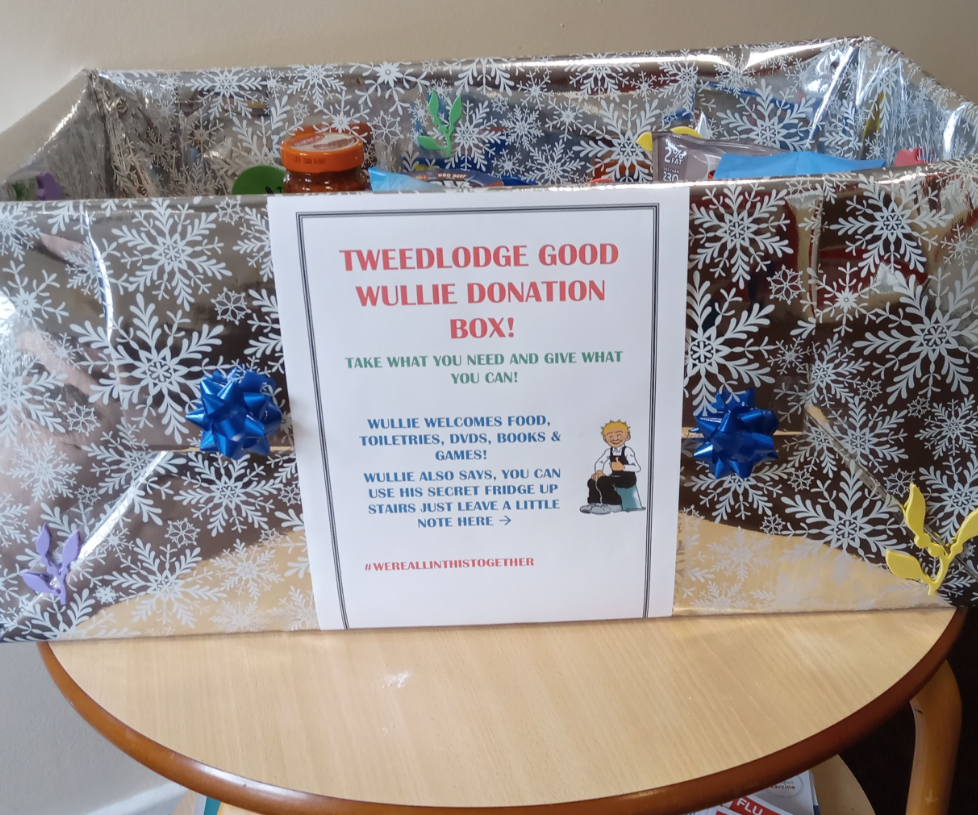 Tweed Lodge's goodwill box filled with food and other helpful items for staff