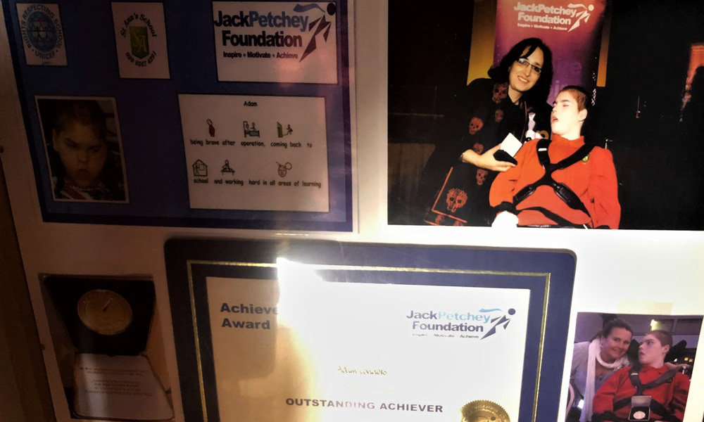 Adam won a Jack Petchy award for his bravery in overcoming health barriers to return to school after two years in hospital.
