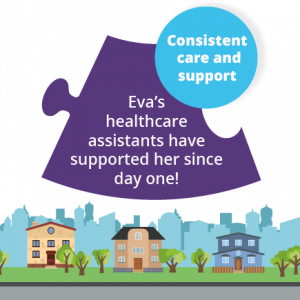 We provide consistent care - Eva's healthcare assistants have supported her since day 1!