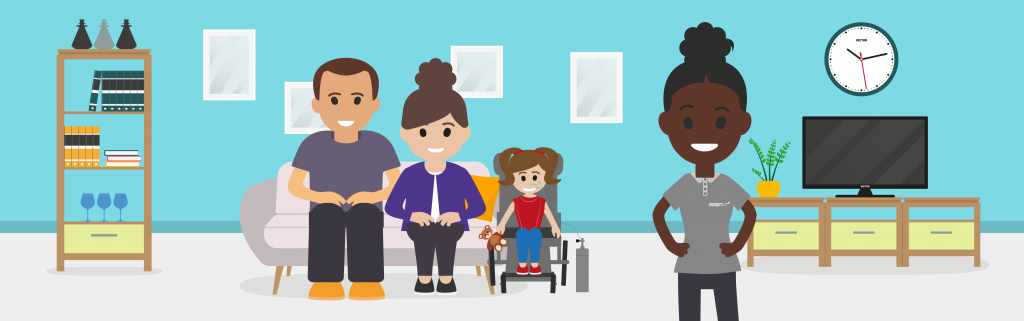 Parents and child with complex care needs supported by a healthcare assistant during transition.