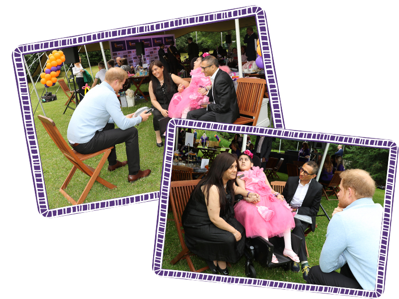 Rhea meeting Prince Harry - ticking off one of her bucket list dreams! Image courtesy of WellChild.