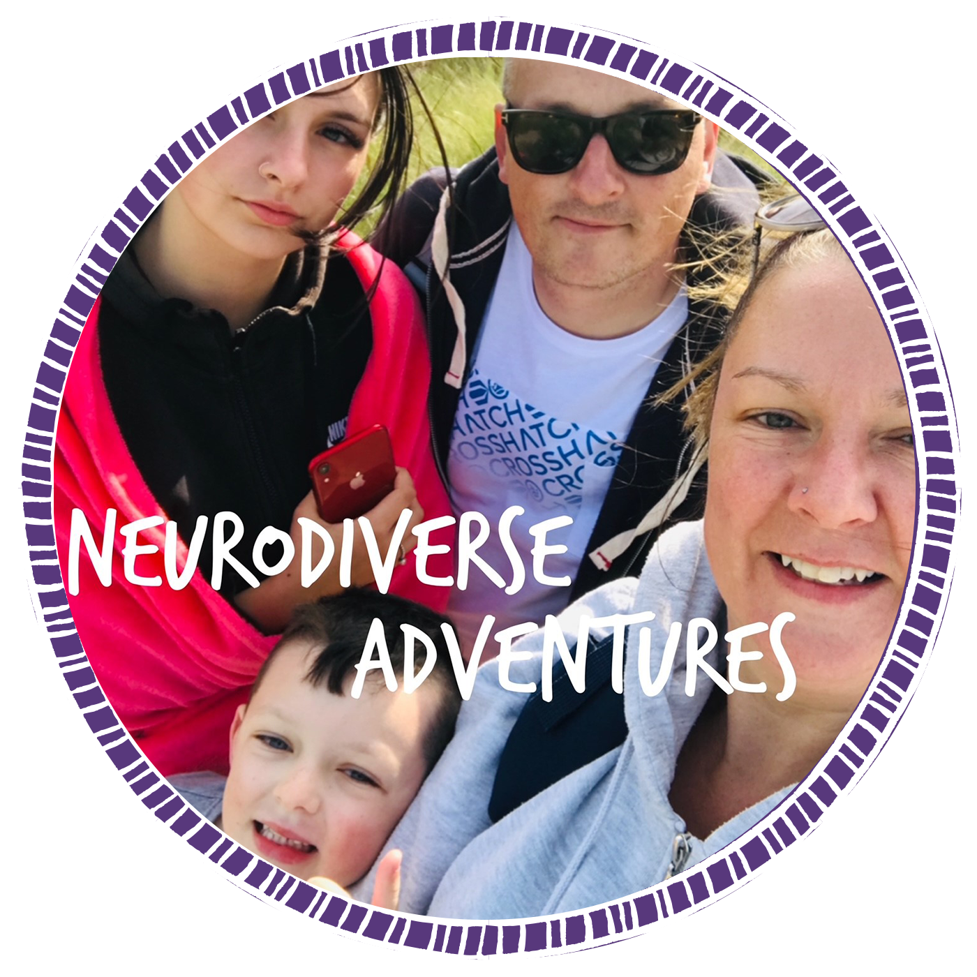 BAPs awards Newcomer Finalist - Image of Amanda and her family, the mum behind Neurodiverse Adventures.